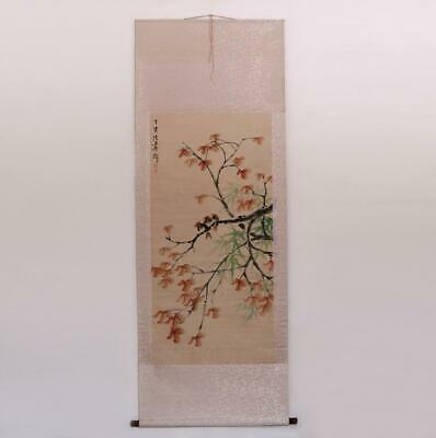 Zhang Shuqi Signed Old Chinese Hand Painted Calligraphy Scroll w/Flower&bird