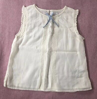 NEXT Girls Cream Sleeveless Blouse With Blue Bow Size 9 Years