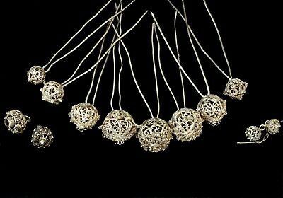 8 Antique Silver Filigree Hairpins & 4 buttons, 19th C Folk Costume, Trachten