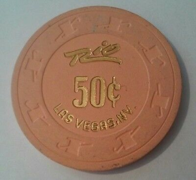 Rio Hotel Casino Las Vegas, Nevada Hard To Find .50 Cent Gaming Chip!