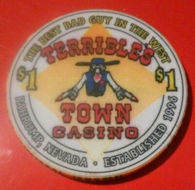 Terribles Town Casino Pahrump, Nv. Hard To Find Sheriff / Bell Logo $1.00 Chip!