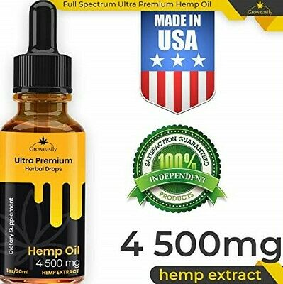 4500mg Full Spectrum Hemp Oil Extract Drops Pain Relief Anti Anxiety free ship