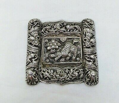 Antique Straits Chinese Silver Plaque, Possibly Part Of A Belt, Circa 1900