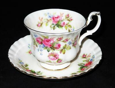 Royal Albert MOSS ROSE, Montrose Shape, Footed Cup & Saucer Set