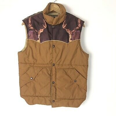Vintage Wildlife Vest by Miller Mens M Brown Deer Elk
