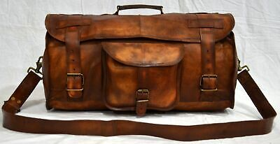 Men's Leather Handmade Vintage Duffel Luggage Carry on Gym Overnight Travel Bag