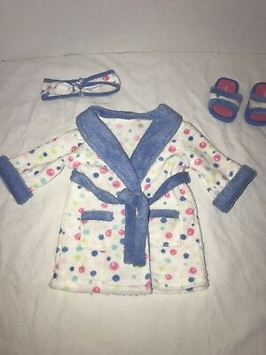 American Girl Bubble bath Robe Outfit Spa Terry Bathrobe Slippers Headband 2004