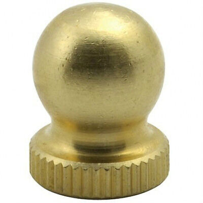 "(1)  Deco Solid Brass Ball Knob Lamp Finial Top 1/2"" Tall Tap 1/4-27"