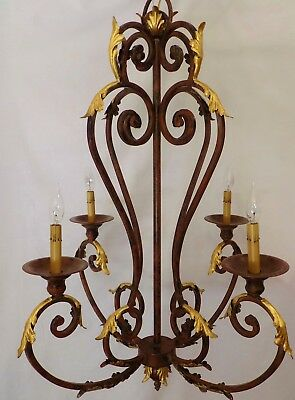 """Large Vintage 41"""" High French Style Iron Chandelier, Gilded Acanthus Leaves"""