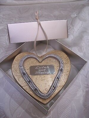 LUXURY REAL HORSESHOE HEART SILVER SPARKLE with ENGRAVED PLAQUE GIFT BOXED & Tag