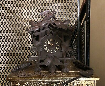 Antique Carved Wood Treen Wall Cuckoo Clock Bellows Chime Timepiece