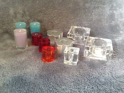 Job Lot Candles, Glass T-Light Holders, Thin Tapered Candle Stick Holders