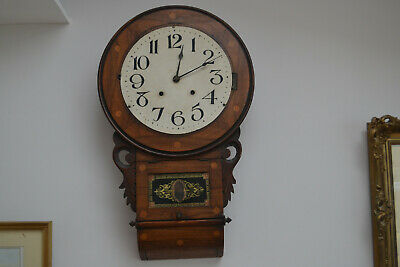 8 day drop dial wall clock working for restoration