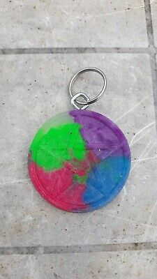 PENTAGRAM KEY CHAIN Glow in the Dark 4 color pentical Ring pagan wiccan coffin