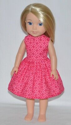 Reddish Pink Doll Dress Clothes Fits American Girl Wellie Wisher Dolls