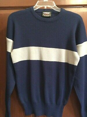 Vintage Men's Ossi Skiwear Sweater Wool Blue Gray Size Medium