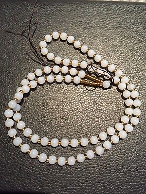 Chinese Hand-woven White Jade Beads + Line Necklace Chain Necklace Luck Jewelry