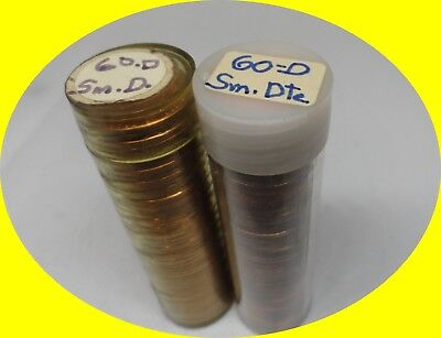 2 Rolls Of 1960 D Small Date Lincoln Memorial Cents From Penny Collection