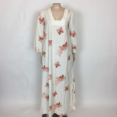 Vintage 70's Women's Dress Miss Elaine Buttefly Novelty Print Maxi Cotton C3-27