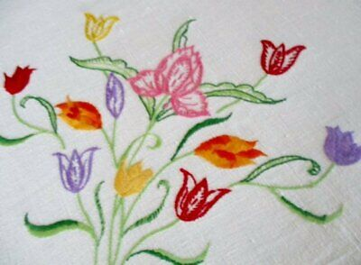 VINTAGE TABLECLOTH HAND EMBROIDERED with TULIPS