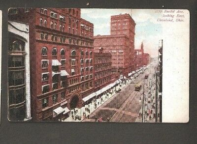 Vtg Postcard Euclid Ave Looking East Cleveland Ohio OH O Early Undivided back