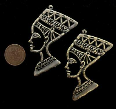 Vintage Large 45 x 63mm Bronze Tone Metal Nefertiti Head Charms Pendants 2