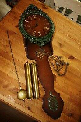 Vintage German Heges Wall Clock with Weights & Pendulum