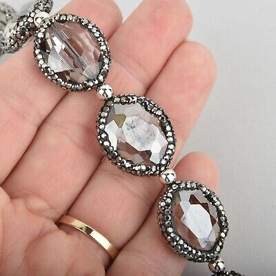 24mm Smoke Oval Crystal Beads Micro Pave GUNMETAL Bezel, x2 beads bgl1847