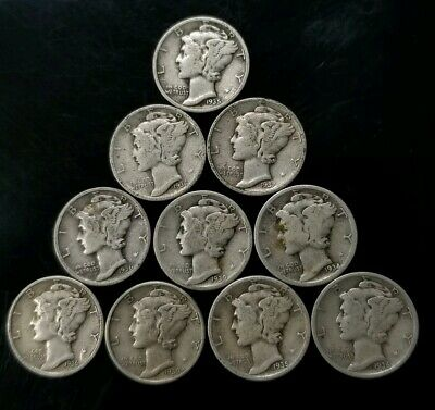 1930's Mercury Dimes Lot of 10 - 90% Silver - US Coins [SC8280]