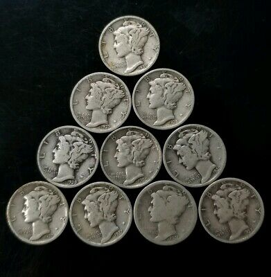 1930's Mercury Dimes Lot of 10 - 90% Silver - US Coins [SC8283]