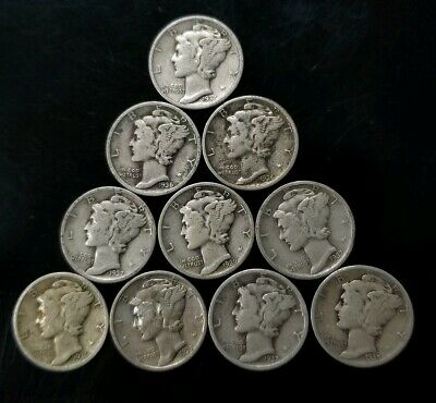 1930's Mercury Dimes Lot of 10 - 90% Silver - US Coins [SC8284]