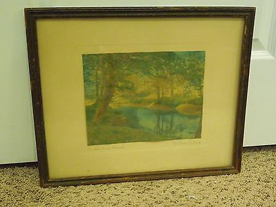 Vintage Watercolor Painted Photo A Sheltered Brook by Wallace Nutting Framed