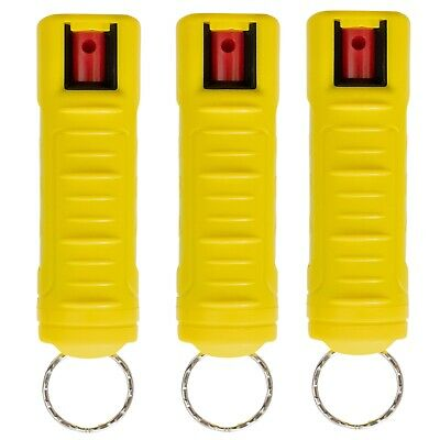 3 PACK Police Magnum 1/2oz Pepper Spray Yellow Molded Keychain Case Self Defense