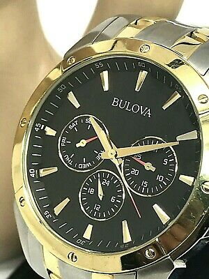Bulova Men's 98C120 Quartz Black Dial Two Tone Stainless Steel 43mm Watch