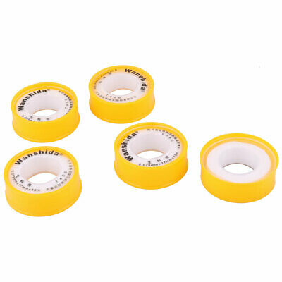 Home PTFE Roll Plumbing Water Pipe Tube Fitting Thread Seal Tape Yellow 5 Pcs