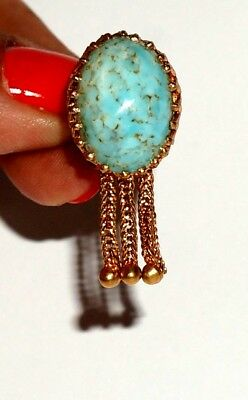 Vintage Art Deco Czech Neiger Bros Turquoise Glass Gilded Brass Clip On Earrings