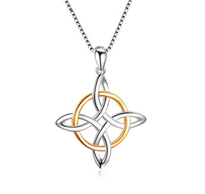 """Celtic Knot Cross .925 Sterling Silver Pendant Necklace W/18"""" Box Chain"""