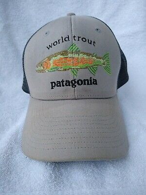 9d59f944 PATAGONIA WORLD TROUT Fishstitch Drifter Grey Trucker Hat - $23.96 ...
