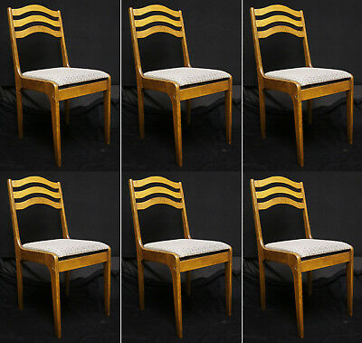 Set 6 Vintage Wood Wooden Cafe Restaurant Bistro Dining Side Chairs Fabric Seats