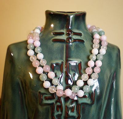 Chinese Oriental Multi Color Green Pink White Jade Jadeite Beaded Necklace 64 g.