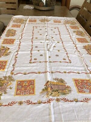 "Mid-Century Vintage Cotton Tablecloth Farmhouse Barn Folk Art Dutch 66"" X 49"""