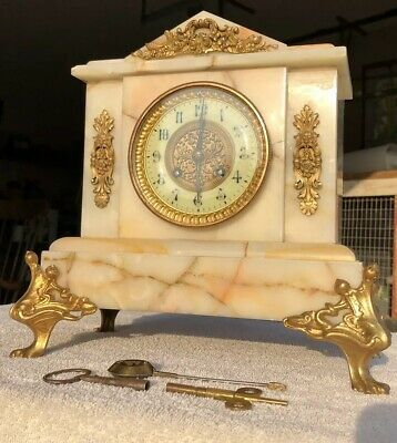 1890's Antique French Marble Mantel Shelf Clock Working Beautifully Japy Frères