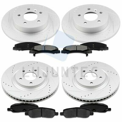 Front Rear Brake Discs Rotors and Ceramic Pads For 2006-2011 Buick Lucerne Drill