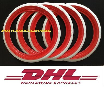 12'' Red&White wall Portawall tire insert Trim set Fiat 500   #2