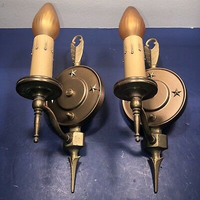 Pair of early brass finish Art Deco sconces Wired Pair 46F
