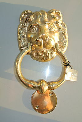 "LION head heavy POLISHED Door Knocker SOLID BRASS vintage old style house 7"" B"