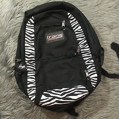 cc1979def Trans by Jansport Backpack Purple Pink with Zebra Stripes School Laptop  Book Bag