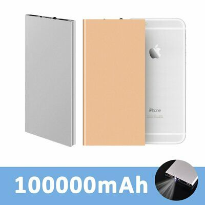 Ultra-Thin 100000mAh 2USB Backup Battery Charger Charging Power Bank For Mobile