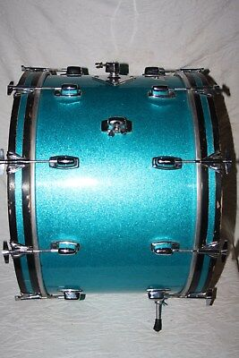 """Vintage Ludwig Standard 22"""" x 14""""  Bass Drum In Blue Sparkle - SN 55439"""
