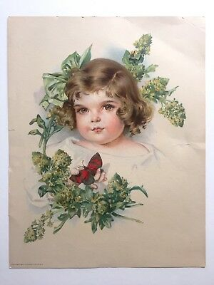 """Rare Vintage Antique 1907 """"Young Girl With Butterfly"""" Color Lithograph Art Print"""